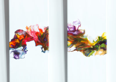 Kleurig tweeluik fluid art schilderijen - 20 x 50 cm
