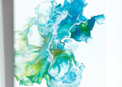 Blauwgroen fluid art schilderij - 20 x 20 cm