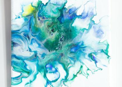 Blauw groen schilderij - 20 x 20 cm