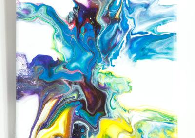 Kleurrijk fluid art schilderij - 20 x 20 cm